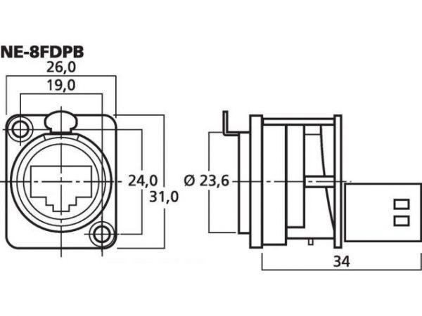 NE-8FDPB - Gniazda montażowe przepustowe EtherCon