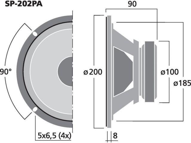 SP-202PA - Uniwersalny głośnik nisko-średniotonowy