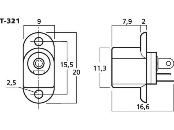 T-321 - Gniazdo montażowe niskonapięciowe 5.5/2.1mm
