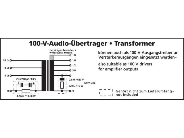 TR-1025LC - Transformator 100V audio