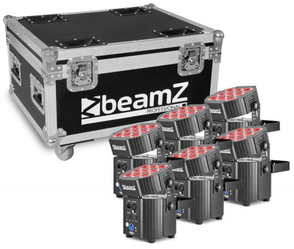 BBP60 Zestaw 6x Oświetlacz Bateryjny LED 9x12W 6-w-1 RGBWA-UV z systemem ładowania i bezprzewodowym DMX + CASE